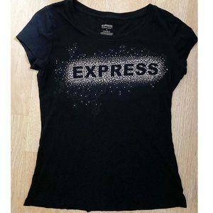 EXPRESS Black Silver Rhinestone Top Sexy BLING